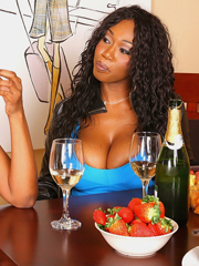 Fatty ebony babes close to big knockers have fun drinking..
