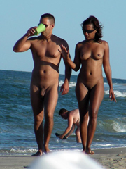 Black exhibs on the beach and public place
