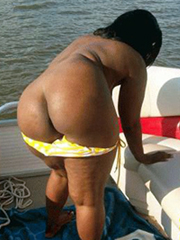 Naked exhibitionist ebony mom on the boat
